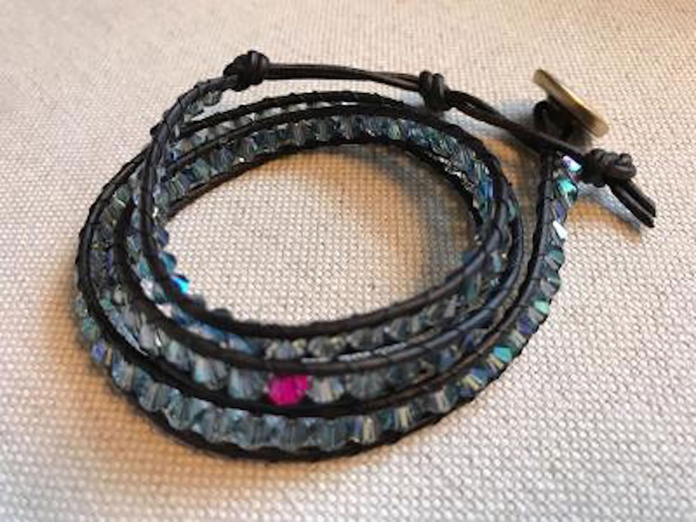 Blue Crystal Triple Wrap Bracelet
